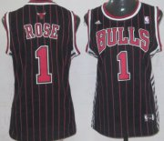 Wholesale Cheap Chicago Bulls #1 Derrick Rose Black Pinstripe Womens Jersey