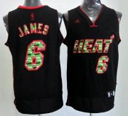 Wholesale Cheap Miami Heat #6 LeBron James Black Camo Fashion Jersey
