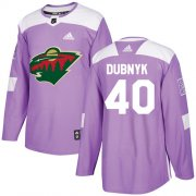 Wholesale Cheap Adidas Wild #40 Devan Dubnyk Purple Authentic Fights Cancer Stitched Youth NHL Jersey