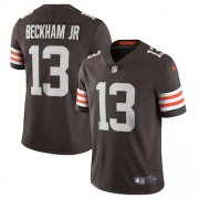 Wholesale Cheap Cleveland Browns #13 Odell Beckham Jr. Men's Nike Brown 2020 Vapor Limited Jersey