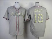 Wholesale Cheap Braves #10 Chipper Jones Grey USMC Cool Base Stitched MLB Jersey