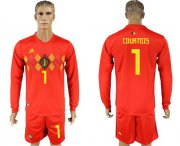 Wholesale Cheap Belgium #1 Courtois Red Home Long Sleeves Soccer Country Jersey