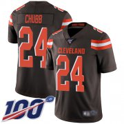 Wholesale Cheap Nike Browns #24 Nick Chubb Brown Team Color Men's Stitched NFL 100th Season Vapor Limited Jersey