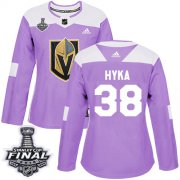 Wholesale Cheap Adidas Golden Knights #38 Tomas Hyka Purple Authentic Fights Cancer 2018 Stanley Cup Final Women's Stitched NHL Jersey