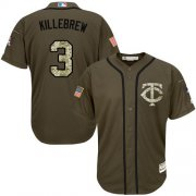 Wholesale Twins #3 Harmon Killebrew Green Salute to Service Stitched Youth Baseball Jersey