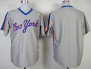 Wholesale Cheap Mitchell And Ness Mets Blank Grey Throwback Stitched MLB Jersey