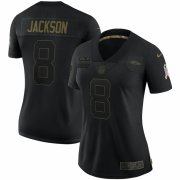 Cheap Baltimore Ravens #8 Lamar Jackson Nike Women's 2020 Salute To Service Limited Jersey Black