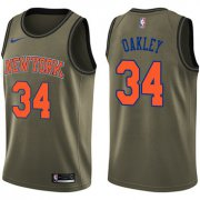 Wholesale Cheap Nike New York Knicks #34 Charles Oakley Green Salute to Service NBA Swingman Jersey