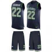 Wholesale Cheap Nike Seahawks #22 Quinton Dunbar Steel Blue Team Color Men's Stitched NFL Limited Tank Top Suit Jersey