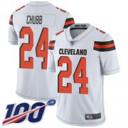 Wholesale Cheap Nike Browns #24 Nick Chubb White Men's Stitched NFL 100th Season Vapor Limited Jersey
