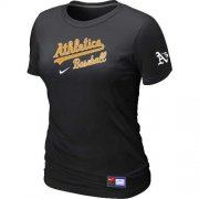 Wholesale Cheap Women's Oakland Athletics Nike Short Sleeve Practice MLB T-Shirt Black