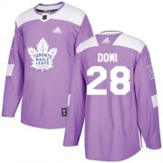 Wholesale Cheap Adidas Maple Leafs #28 Tie Domi Purple Authentic Fights Cancer Stitched NHL Jersey