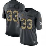 Wholesale Cheap Nike Vikings #33 Dalvin Cook Black Youth Stitched NFL Limited 2016 Salute To Service Jersey
