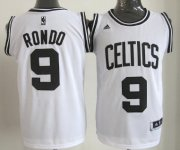 Wholesale Cheap Boston Celtics #9 Rajon Rondo White With Black Authentic Jersey