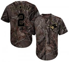 Wholesale Cheap Blue Jays #2 Troy Tulowitzki Camo Realtree Collection Cool Base Stitched MLB Jersey