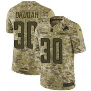 Wholesale Cheap Nike Lions #30 Jeff Okudah Camo Youth Stitched NFL Limited 2018 Salute To Service Jersey