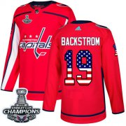 Wholesale Cheap Adidas Capitals #19 Nicklas Backstrom Red Home Authentic USA Flag Stanley Cup Final Champions Stitched NHL Jersey