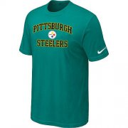 Wholesale Cheap Nike NFL Pittsburgh Steelers Heart & Soul NFL T-Shirt Teal Green