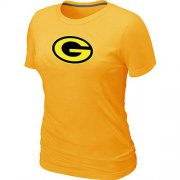 Wholesale Cheap Women's Green Bay Packers Neon Logo Charcoal T-Shirt Yellow