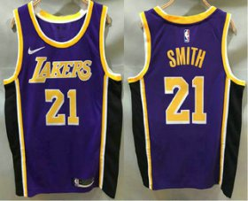 Wholesale Cheap Men\'s Los Angeles Lakers #21 JR Smith Purple 2020 Nike Swingman Printed NBA Jersey