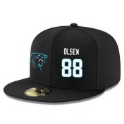 Wholesale Cheap Carolina Panthers #88 Greg Olsen Snapback Cap NFL Player Black with White Number Stitched Hat