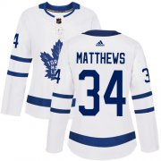 Wholesale Cheap Adidas Maple Leafs #34 Auston Matthews White Road Authentic Women's Stitched NHL Jersey