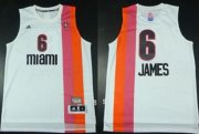 Wholesale Cheap Miami Floridians #6 LeBron James ABA Hardwood Classic Swingman White Jersey