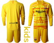Wholesale Cheap Barcelona Blank Yellow Goalkeeper Long Sleeves Kid Soccer Club Jersey