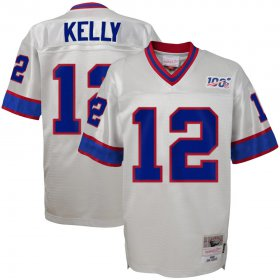 Wholesale Cheap Youth Buffalo Bills #12 Jim Kelly Mitchell & Ness Platinum NFL 100 Retired Player Legacy Jersey