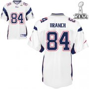 Wholesale Cheap Patriots #84 Deion Branch White Super Bowl XLVI Embroidered NFL Jersey
