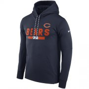 Wholesale Cheap Men's Chicago Bears Nike Navy Sideline ThermaFit Performance PO Hoodie