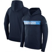 Wholesale Cheap Men's Los Angeles Chargers Nike Navy Sideline Team Performance Pullover Hoodie