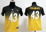 Wholesale Cheap Nike Steelers #43 Troy Polamalu Black/Gold Youth Stitched NFL Elite Fadeaway Fashion Jersey