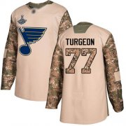 Wholesale Cheap Adidas Blues #77 Pierre Turgeon Camo Authentic 2017 Veterans Day Stanley Cup Champions Stitched NHL Jersey