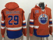 Wholesale Cheap Oilers #29 Leon Draisaitl Orange Name & Number Pullover NHL Hoodie
