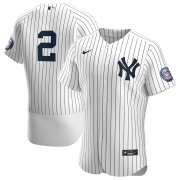 Wholesale Cheap New York Yankees #2 Derek Jeter Men's Nike White Navy 2020 Hall of Fame Induction Patch Authentic MLB Jersey