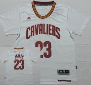 Wholesale Cheap Men's Cleveland Cavaliers #23 LeBron James Revolution 30 Swingman 2014 New White Short-Sleeved Jersey