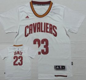 Wholesale Cheap Men\'s Cleveland Cavaliers #23 LeBron James Revolution 30 Swingman 2014 New White Short-Sleeved Jersey