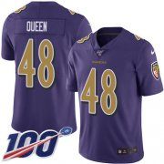 Wholesale Cheap Nike Ravens #48 Patrick Queen Purple Men's Stitched NFL Limited Rush 100th Season Jersey