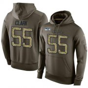 Wholesale Cheap NFL Men's Nike Seattle Seahawks #55 Frank Clark Stitched Green Olive Salute To Service KO Performance Hoodie