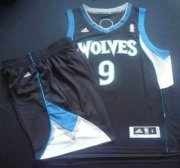 Wholesale Cheap Minnesota Timberwolves 9 Ricky Rubio Black Revolution 30 Swingman NBA Suits
