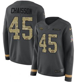 Wholesale Cheap Nike Jaguars #45 K\'Lavon Chaisson Anthracite Salute to Service Women\'s Stitched NFL Limited Therma Long Sleeve Jersey