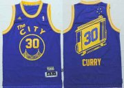 Wholesale Cheap Golden State Warriors #30 Stephen Curry The City Blue Hardwood Classics Soul Swingman Throwback Jersey