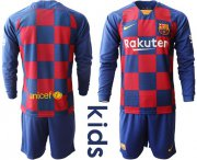 Wholesale Cheap Barcelona Blank Home Long Sleeves Kid Soccer Club Jersey