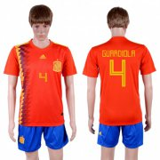 Wholesale Cheap Spain #4 Guardiola Home Soccer Country Jersey