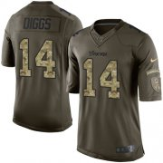Wholesale Cheap Nike Vikings #14 Stefon Diggs Green Men's Stitched NFL Limited 2015 Salute To Service Jersey
