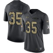 Wholesale Cheap Nike Ravens #35 Gus Edwards Black Youth Stitched NFL Limited 2016 Salute to Service Jersey