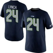 Wholesale Cheap Nike Seattle Seahawks #24 Marshawn Lynch Pride Name & Number NFL T-Shirt Blue