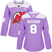 Wholesale Cheap Adidas Devils #8 Will Butcher Purple Authentic Fights Cancer Women's Stitched NHL Jersey