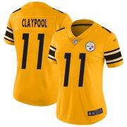 Wholesale Cheap Nike Steelers #11 Chase Claypool Gold Women's Stitched NFL Limited Inverted Legend Jersey